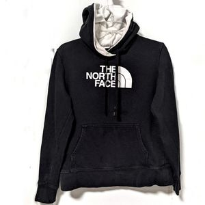 North Face Half Dome Logo Hoodie Black White Inset